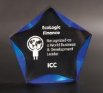 Black/Blue Luminary Star Acrylic Award Acrylic Awards with Background Design