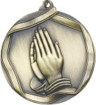 Ribbon Praying Hands Medal Christian Medals