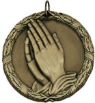 Wreath Medal - Christian Praying Hands Christian Medals