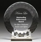 Corporate Crystal Facet Plates Clear Optical Crystal Awards