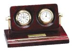 Piano Finish Rosewood Desk Clock with Instruments Clocks with Thermometers
