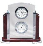 Wood, Glass, Aluminum Clock and Thermometer Clocks with Thermometers