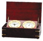Clock and Thermometer in Rosewood Piano Finish Box Clocks with Thermometers