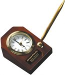 Rosewood Piano Finish Desk Clock W/Pen Economy clocks