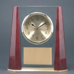 Glass Rosewood Piano Finish Beveled Desk Clock Award Economy clocks