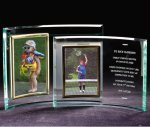 Vertical Crescent Photo Frame Economy Glass Awards