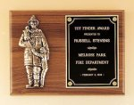 Fireman Plaque with Antique Bronze Finish Casting. Fire and Safety Awards