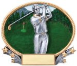 Golf 3D Oval Trophy (Male) Golf