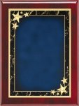 Rosewood Blue Star Achievement Plaque Piano Finish Rosewood Plaques