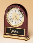 Rosewood Piano Finish Desk Clock on a Brass Base Rosewood clocks