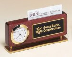 Rosewood Piano Finish Clock With Business Card Holder Rosewood clocks