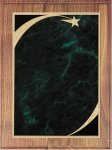 Walnut Plaque - Green Star Sweep Shield Plaques