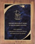 Walnut Plaque - Blue Star Sweep Shield Plaques