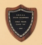American Walnut Shield Plaque with a Black Brass Plate Shield Plaques