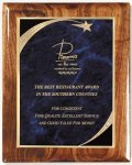Walnut Gloss Plaque - Blue Star Sweep Star Plaques