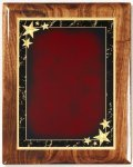 Walnut Gloss Plaque - Red Star Achievement Star Plaques