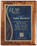 Walnut Gloss Plaque - Blue Swirl Walnut Plaques
